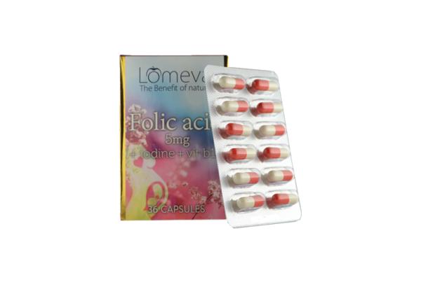 Folic Acid 5mg + iodine + vit B12